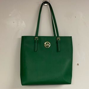 Green MK Logo Purse Large Tote Genuine Leather